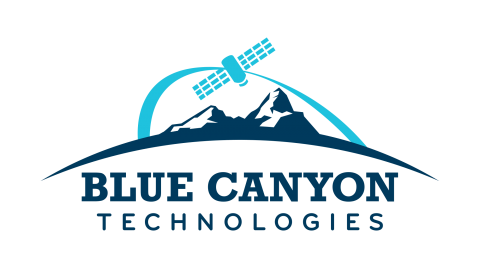 Blue Canyon Technologies logo picturing a light blue arc and satellite over a navy mountain range on a horizon