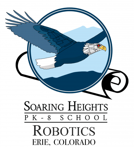 Soaring Heights Robotics team logo. Image of Soaring Heights school logo, blue eagle flying over mountain range, but eagle's face and beak appear to be mechanical and robotic