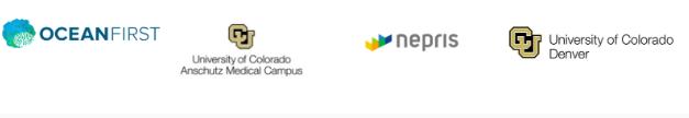 4 partner logos horizontally in a row. Logos are: Ocean First, University of Colorado Anschutz Medical Campus, Nepris, and University of Colorado Denver